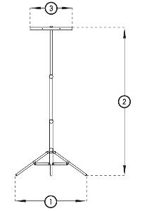 Solamagic 3-Fuss Stativ Abmessung